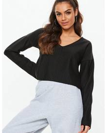 Missguided Boxy Chunky Ribbed Cropped Sweatshirt