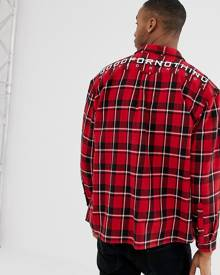 Good For Nothing oversized check shirt in red with back logo - Red