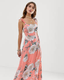 ff7ef7ba168 Sisters Of The Tribe maxi dress with leg split - Pink