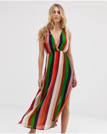 Akasa Exclusive multicoloured maxi split beach dress - Multi