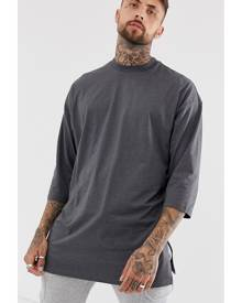 1470444021b8 ASOS DESIGN oversized super longline t-shirt with 3/4 sleeve in charcoal  marl