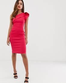 40b797fa1d2e Vesper frill one shoulder midi dress - Pink