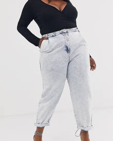 ASOS Curve ASOS DESIGN Curve tapered boyfriend jeans with curved seams detail in bleach acid wash - Blue