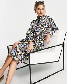 ASOS DESIGN oversized t-shirt in towelling colour-block with text embroidery-Multi