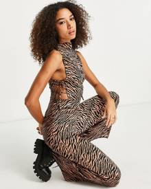 ASOS DESIGN relaxed revere abstract blocks print shirt in brown