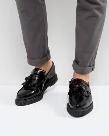 ASOS DESIGN loafers in black leather with creeper sole - Black
