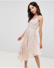 Frock And Frill Tall Embroidered Cami Strap High Low Midi Dress With Plunge Back Detail - Purple