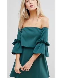 ASOS PETITE Scuba Crop Top Bardot Fluted Sleeve Mini Dress - Green