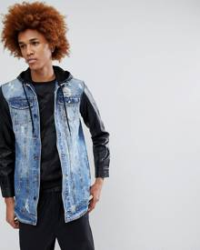 Criminal Damage Denim Jacket with PU Sleeves - Blue