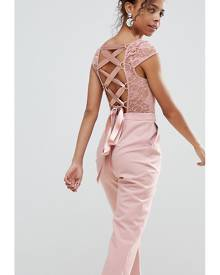 ASOS PETITE Lace Top Jumpsuit with Lattice Back - Pink