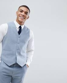 ASOS DESIGN ASOS Wedding Skinny Suit Waistcoat In Blue Linen - Blue