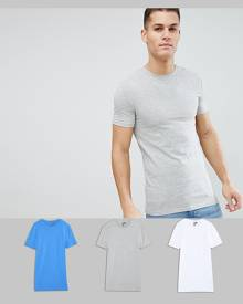 ASOS DESIGN Longline Muscle Fit T-Shirt With Crew Neck And Stretch 3 Pack Save - Multi