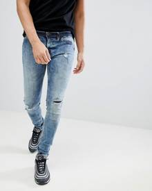 Blend flurry knee rip muscle fit jeans in bleach wash - Blue