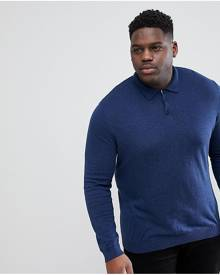 46bd4184 ASOS DESIGN Plus Muscle Fit Knitted Polo In Navy - Navy