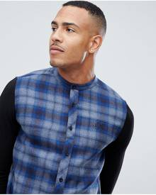 SikSilk grandad collar check shirt in blue with jersey sleeves exclusive to ASOS - Blue