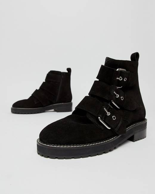 be5d811d095 Artillery chunky black suede three buckle boots - Black