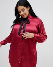 Junarose pussybow shirt dress - Red