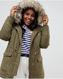 Junarose faux fur trim parka - Green