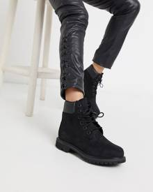 Timberland 6 Inch Premium Black Lace Up Flat Boots - Black