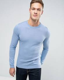 ASOS Cotton Crew Neck Jumper in Muscle Fit - Blue