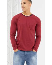 United Colors Of Benetton long sleeve top with striped rib in red - Red