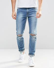 ASOS DESIGN ASOS Skinny Jeans In Mid Wash With Knee Rips - Blue