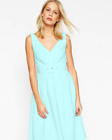 ASOS TALL 50's Belted Prom Dress - Blue