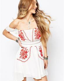 Glamorous Off Shoulder Dress with Embroidery - White