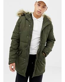 Schott lincoln 18x quilted hooded parka jacket detachable faux fur trim slim fit in green - Green