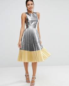 ASOS Sheer And Solid Metallic Pleated Midi Dress - Silver