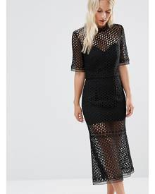 Jarlo Petite Cutwork Lace Overlay Midi Dress - Black