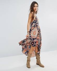 Raga High Low Printed Hendrix Dress - Orange