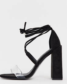 aeec45744bfc4 ASOS DESIGN Wide Fit Hadley barely there block heeled sandals - Black