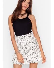 NastyGal Womens Lace Polka Dot Ruffle Mini Skirt - White