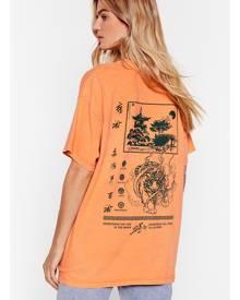 NastyGal Womens Oversized Osaka Graphic T-Shirt - Orange