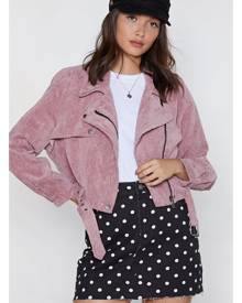 NastyGal Womens Corduroy Moto Jacket with Asymmetric Zip - Pink
