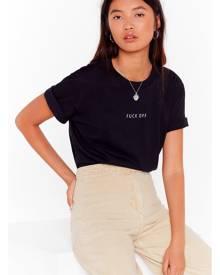 NastyGal Womens Fuck Off Oversized Graphic T-Shirt - Black