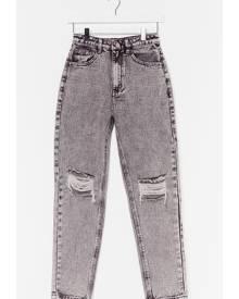 NastyGal Womens Raw Hem Distressed Mom Jeans - Grey