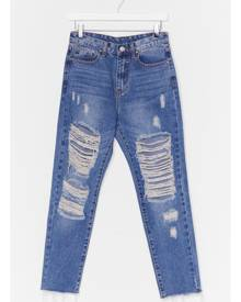 NastyGal Womens Distressed High Rise Mom Jeans - Blue