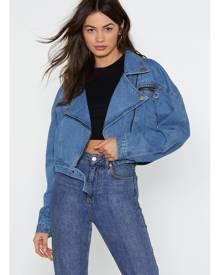 NastyGal Womens Medium Wash Denim Biker Jacket - Blue