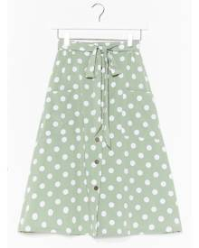 NastyGal Womens Polka Dot Button Down Midi Skirt - Mint