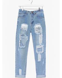 NastyGal Womens Distressed Slouchy Mom Jeans - Bleach Wash