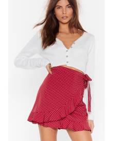NastyGal Womens Polka Dot Wrap Skirt - Burgundy