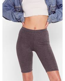 NastyGal Womens Fitted High Waisted Biker Shorts - Charcoal