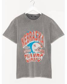 NastyGal Womens Nebraska Champs Oversized Graphic T-Shirt - Charcoal