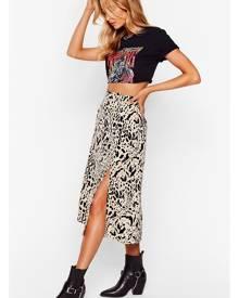 NastyGal Womens Animal Print Slit Midi Skirt - Beige