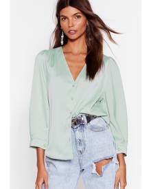 NastyGal Womens Satin Puff Sleeve Blouse - Pistachio