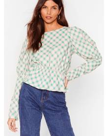 NastyGal Womens Check Puff Sleeve Open Back Blouse - Pink