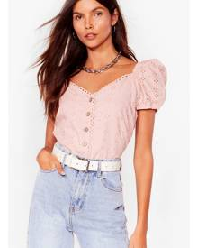 NastyGal Womens Broderie Button Down Puff Sleeve Top - Pink