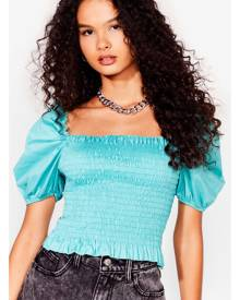 NastyGal Womens Shirred Puff Sleeve Crop Blouse - Sage